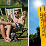 The hot weather will continue in some parts of the country today (right: stock image)