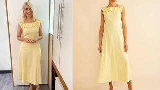 Holly Willoughby is wearing a yellow midi dress on This Morning