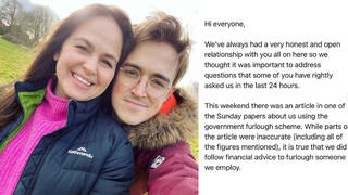 Tom and Giovanna Fletcher have apologised on Instagram