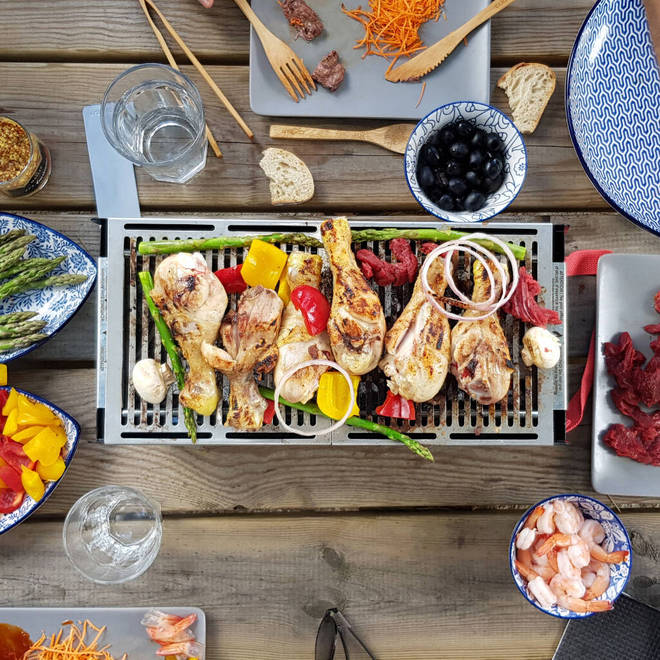 This table top BBQ is fun for family meals or when he has his mates over