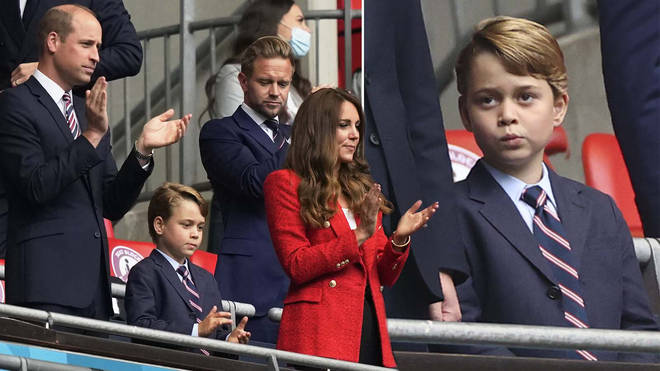 Kate, William and George joined a handful of celebrities in a box at Wembley Stadium
