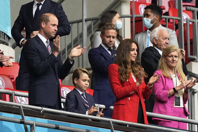 Kate Middleton look patriotic in a white and red ensemble for the game