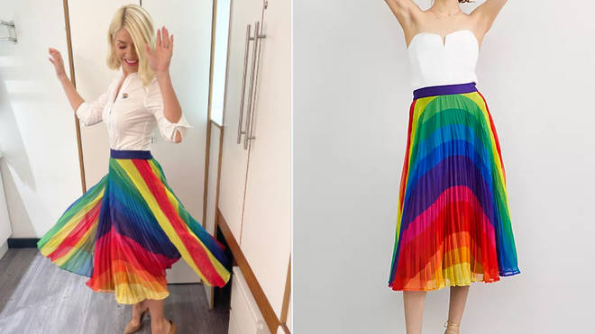 Holly Willoughby is wearing a multicoloured skirt from Anthropologie