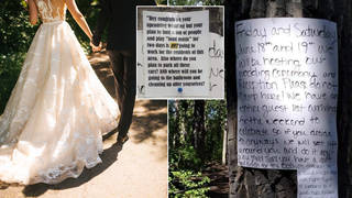 A bride has been called 'selfish' after leaving angry note warning strangers not to ruin her wedding