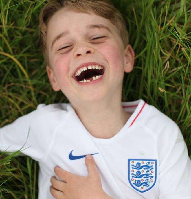 Prince George has previously been pictured showing his love for the England football squad