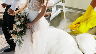 A bride asked her guest to do the washing up