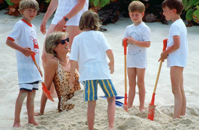 Harry and William bury Diana on the beach as they holiday on Necker Island