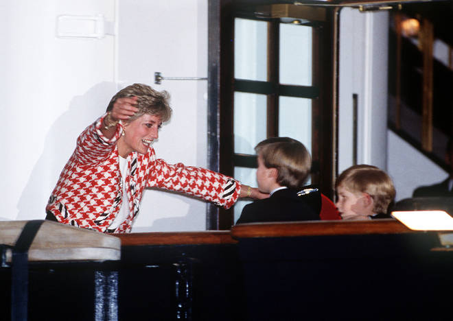 Princess Diana runs to hug her sons on the deck of the yacht Britannia in Toronto