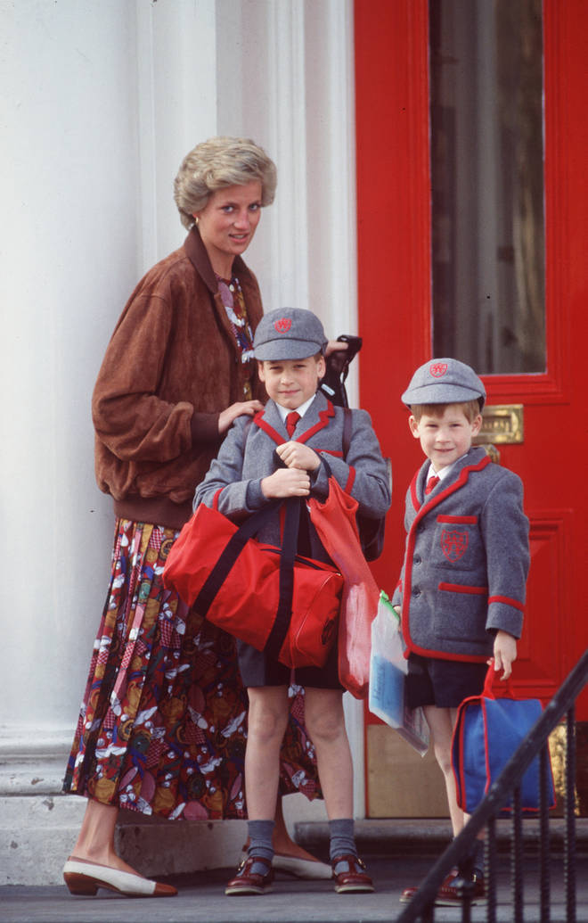 Diana takes William and Harry to school at Wetherby School in 1990