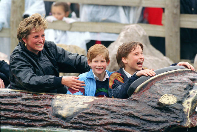 Diana and the boys laugh during a trip to Thorpe Park in 1993