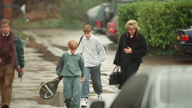 Diana picks her sons up from tennis at The Harbour Club in Chelsea, 1995
