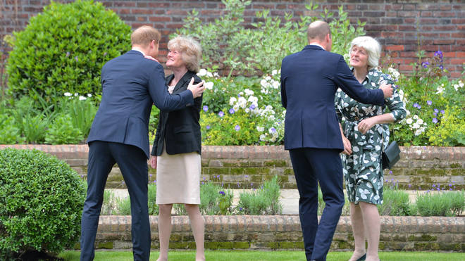 Harry and William greeted members of Diana's family, who were in attendance for the reveal