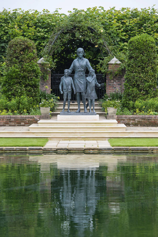 The statue of Diana has been four years in the making, and is now finally in the Sunken Garden of Kensington Palace