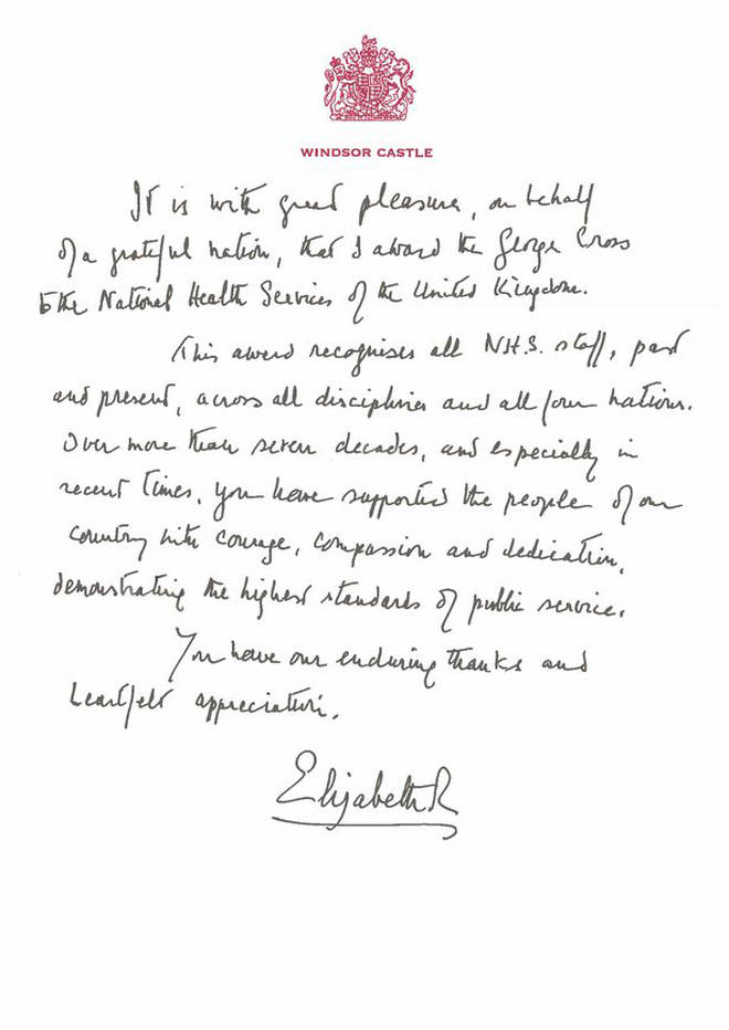 The Queen has written a letter to the NHS