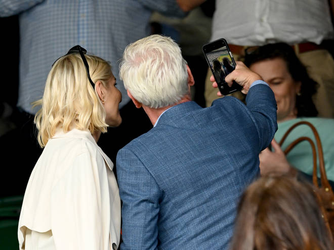 The pair were seen getting closer as they took a selfie during a break from the tennis