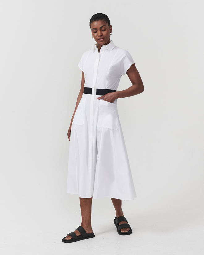 Holly is wearing a shirt dress from Reiss