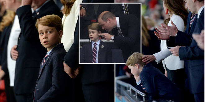 Prince George was seen looking sad after England's defeat last night