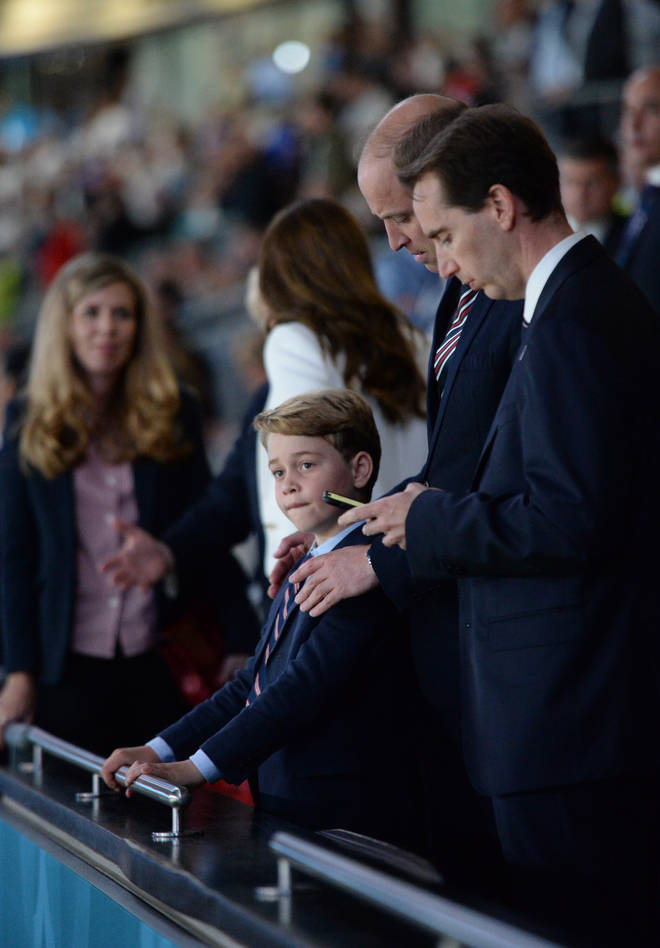 Prince William was also seen comforting his son