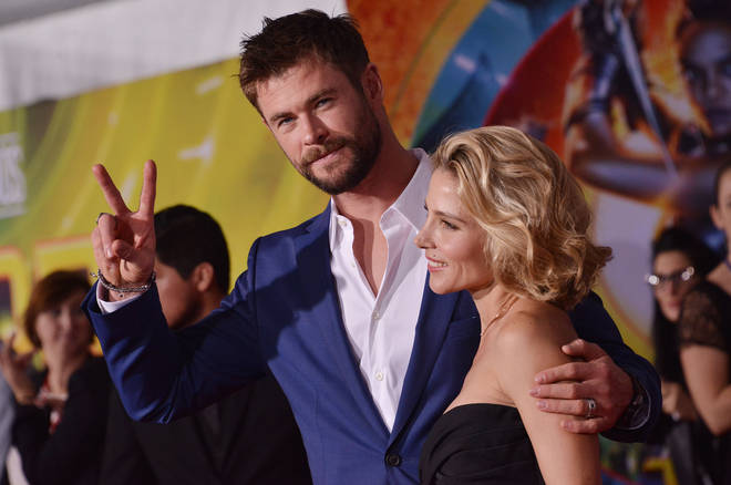 Chris Hemsworth and his wife Elsa Pataky at the Thor: Ragnarok premiere in LA, 2017
