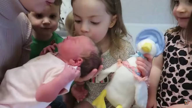 The video showed the kids meeting Heidie for the first time