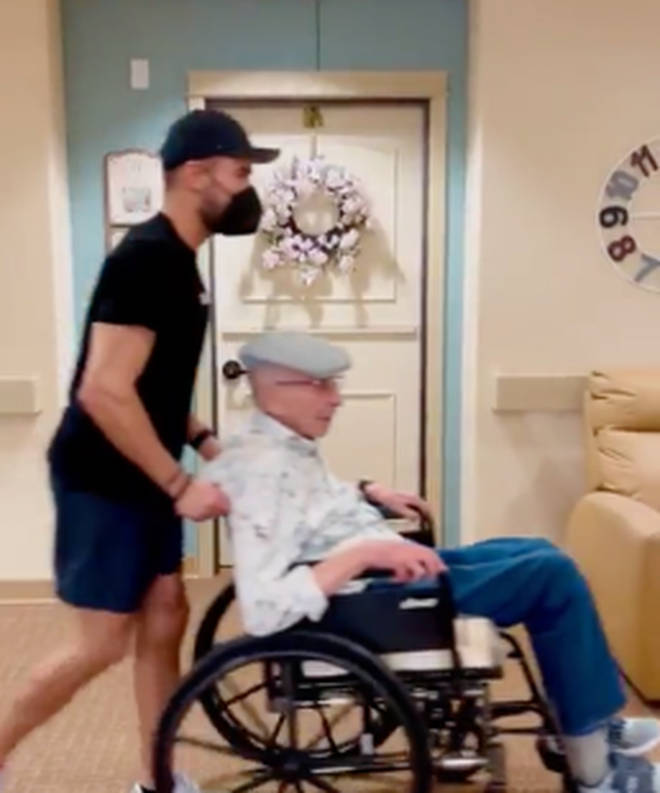 Zac Efron filmed a skit where he broke his grandpa out of his retirement home so they could watch the football together