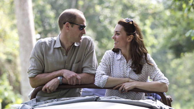 Kate and William look lovingly at each other during a trip to India