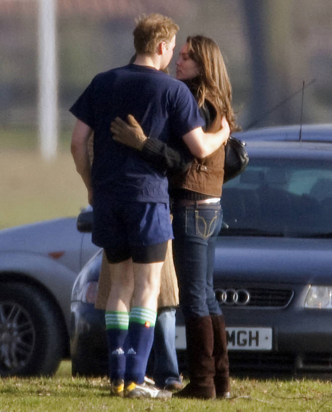 William gives Kate a kiss as she visits him at Eton College