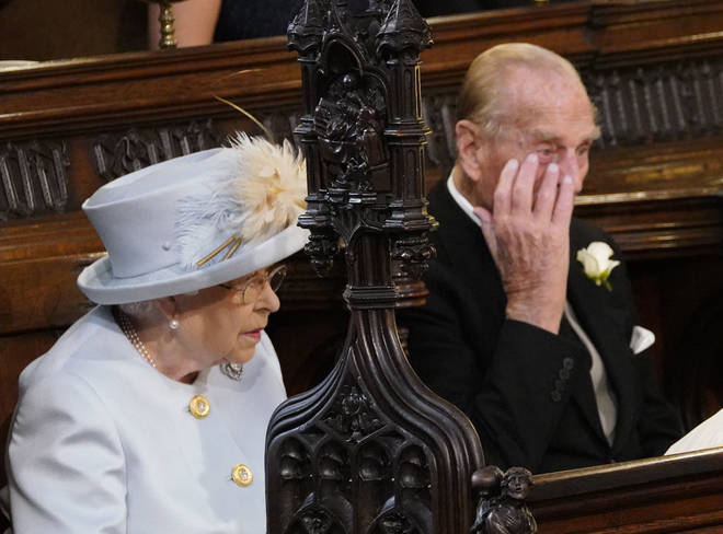 The Queen and Prince Philip at the wedding of Princess Eugenie and Jack Brooksbank