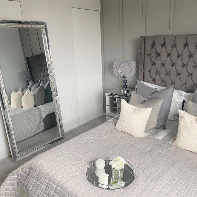 She gave her bedroom a chic grey and chrome theme