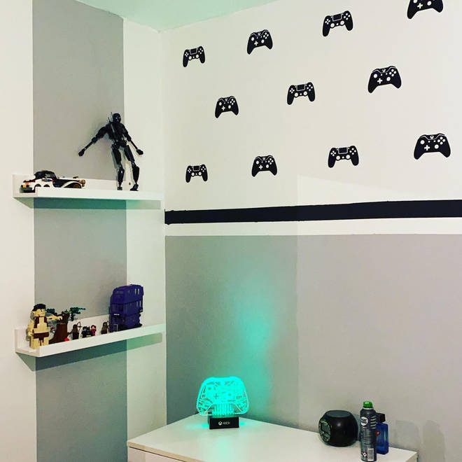 Her eldest son has a gamer themed room with stylish accessories