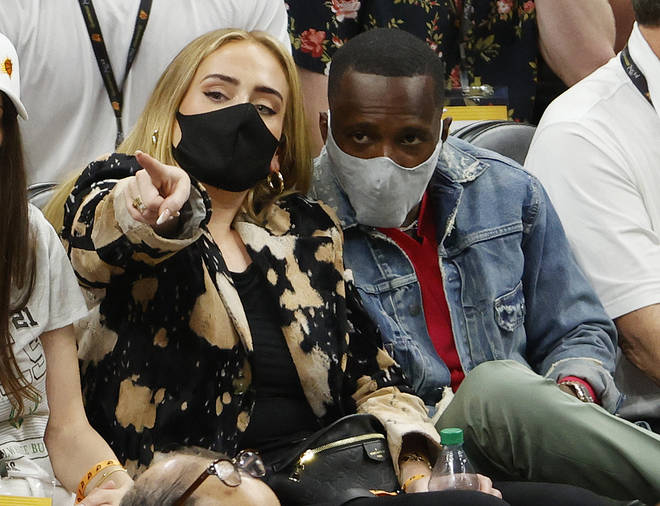 Adele was with sports agent Rich Paul, who she is rumoured to be datingh