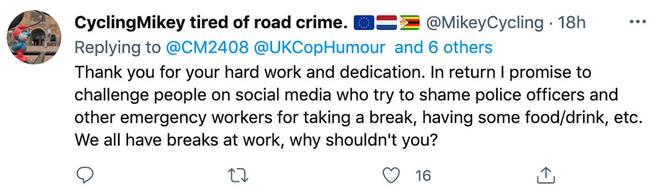 Social media was full of praise for the policeman