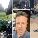 Jamie Oliver was interrupted by a storm while filming his Christmas special