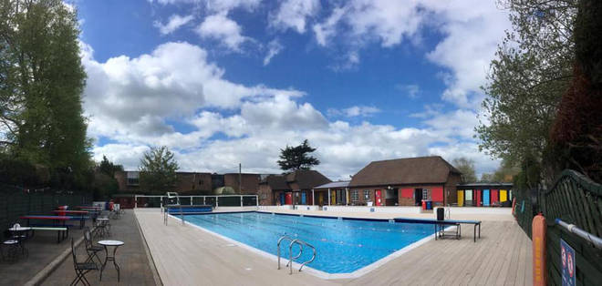 This lido is in Hampshire and has lots of space for sunbathing