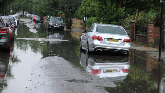 Parts of London were left flooded on Sunday