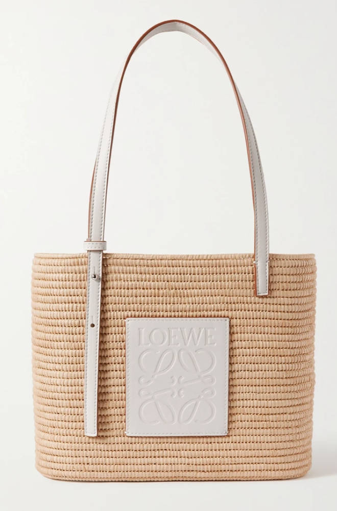 Loewe - Paula's Ibiza small leather-trimmed woven raffia tote
