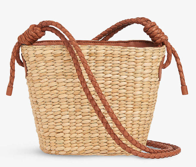 Whistles - Lyra braided leather and straw tote bag
