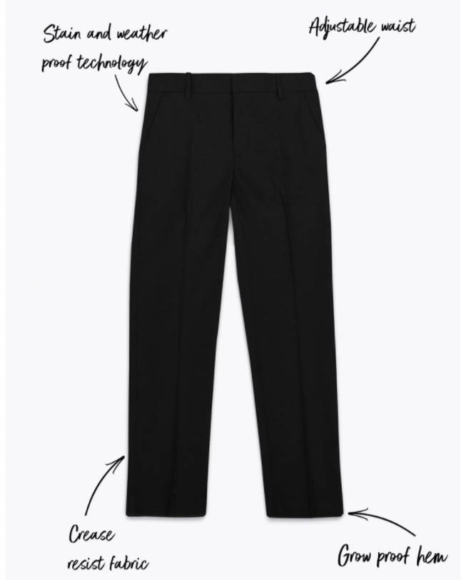 The school trousers have a built in hem which can be let down as your child grows