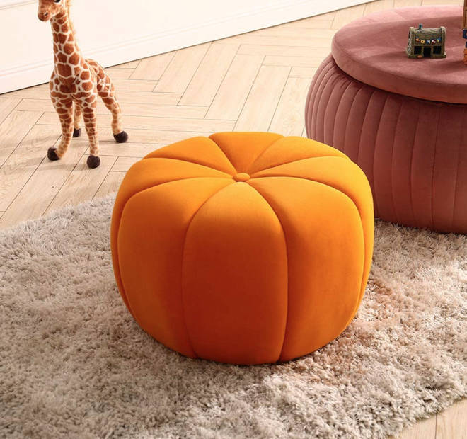 INMOZATA - Orange pumpkin ottoman