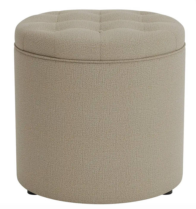 Dunelm - Oswald faux wool round storage foot stool