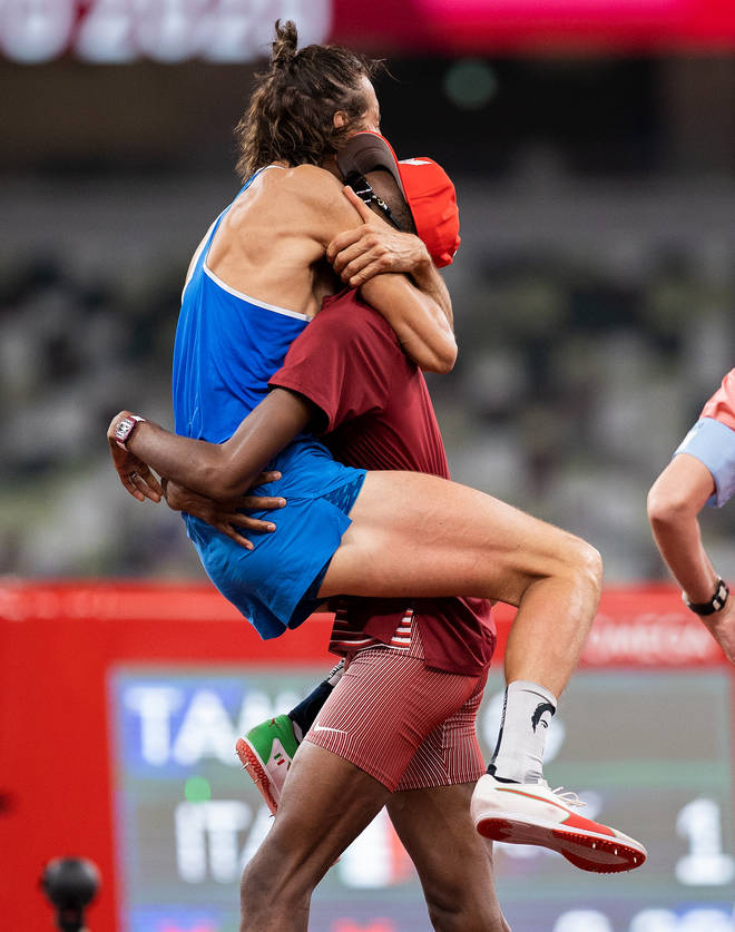 Tamberi jumped into Barshim's arms in the moment they decided to share the gold