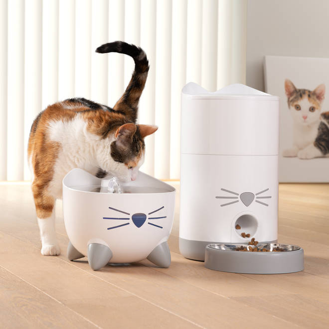 This cute water fountain will provide kitty with plenty of refreshing water all day