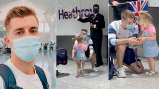 Max Whitlock was surprised by his daughter after arriving home