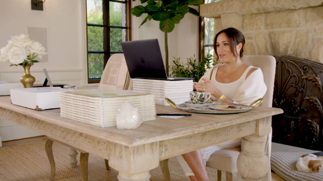 Meghan Markle was filmed inside her office in her Santa Barbara home, where she lives with Prince Harry, Archie and Lilibet