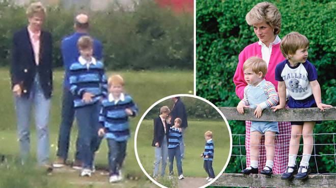 The stars playing Diana, William and Harry were pictured filming scenes in Scotland