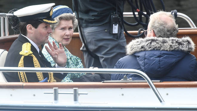 Imelda Staunton, who is playing the Queen, was seen filming scenes earlier this month in Scotland