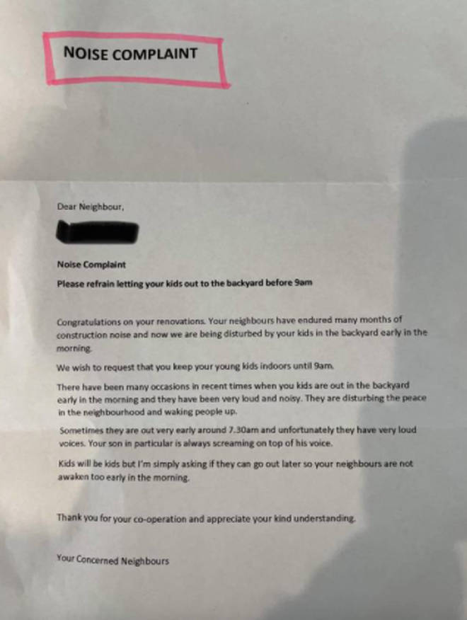 The mum posted a picture of the letter online in order to receive some advice on how to handle the situation