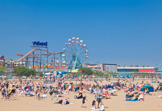 Skegness beach is one of the cleanest in the UK - pictured here on a sunny day