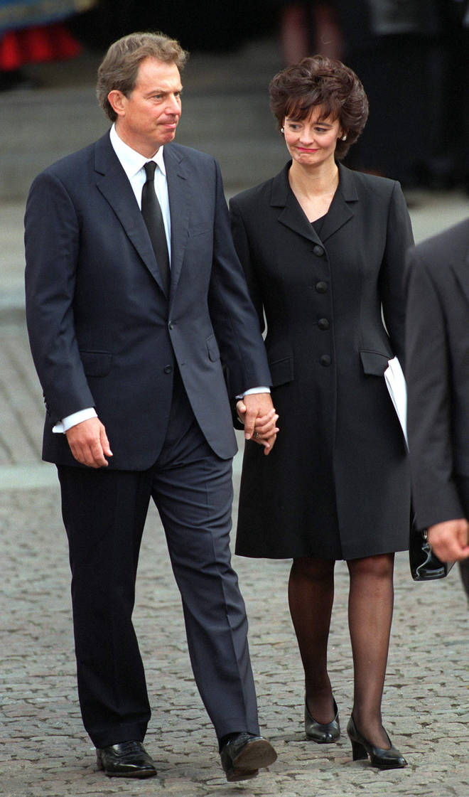 Tony Blair And wife Cherie At Diana's funeral