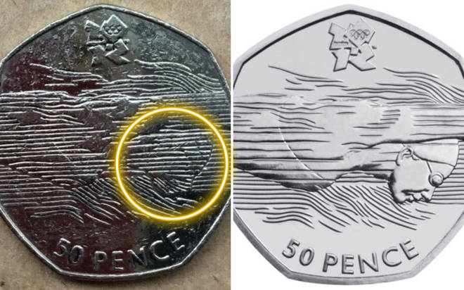 On the right is the final design released by the Royal Mint, note there are no lines over the swimmer's face